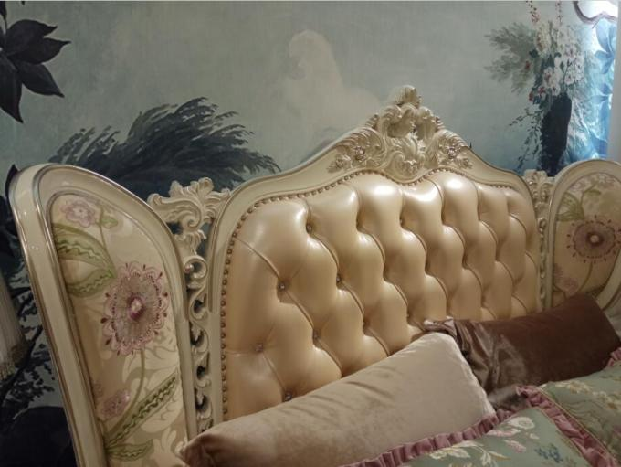 Comfortable Big King Bed Leather Upholstered Headboard Handmade Carved Pattern
