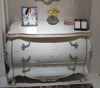 French Classical White Dresser With Mirror / Three Drawers Full Solid Wood