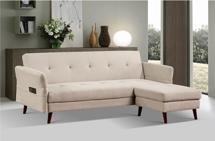 Functional Living Room Furniture Sofa Bed Pure Foam Linen Solid Legs / Wood Frame