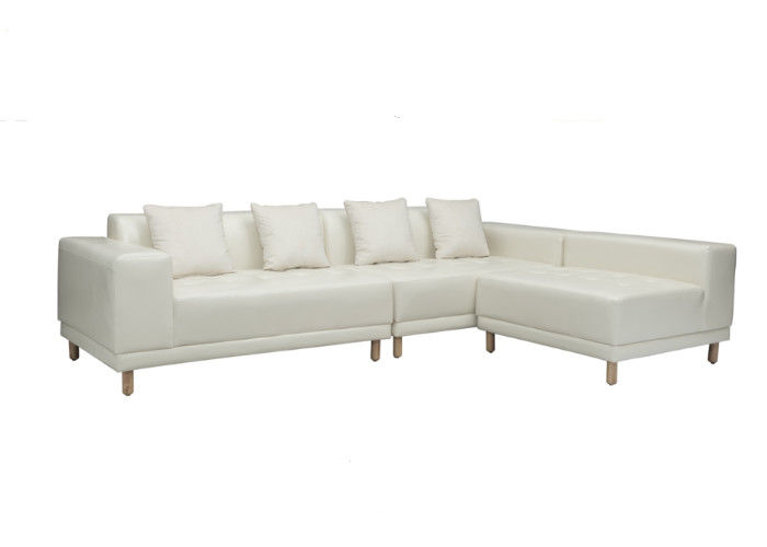 Easy Clean Living Spaces Leather Sofa Foam PVC Solid Wood Legs ...