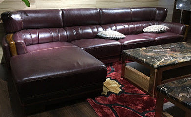 Traditional Design Leather Sectional Furniture / Brown Leather Sectional Couch
