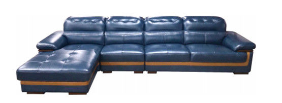 Blue Leather Sectional Sleeper Sofa Reclining Couch With Recliner