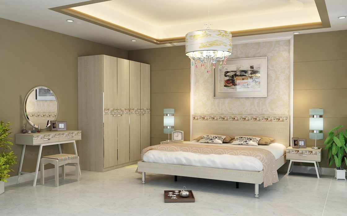 Light Walnut Color Simple Bedroom Sets Eco   Friendly MDF With Melamine  Material