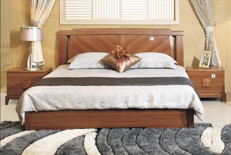 Solid Wood Material Panel Bedroom Furniture Walnut Color Modern Simple Double Bed