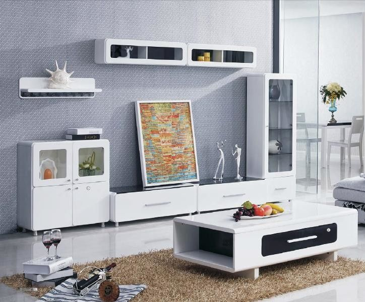 Particle Board Wall Unit Coffee Table High Gloss Modern Simple Style