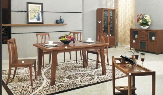 Full Rubber Solid Wood Dining Table , Dining Room Chairs Wine Cabinet
