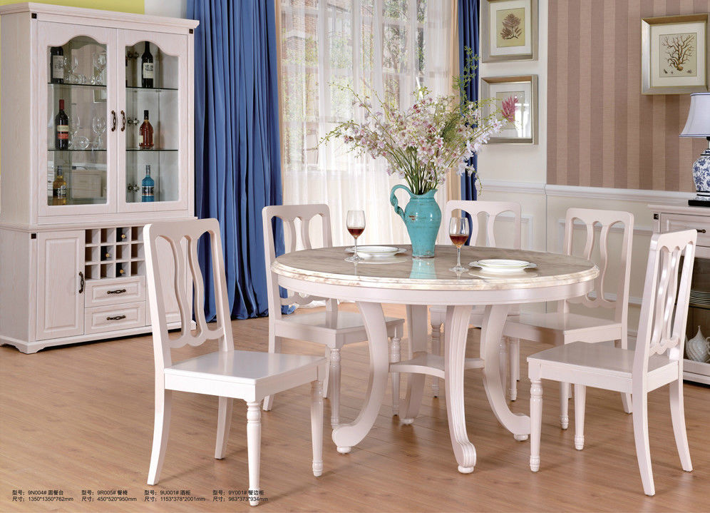 Royal European Contemporary Furniture White Dining Table And Chairs