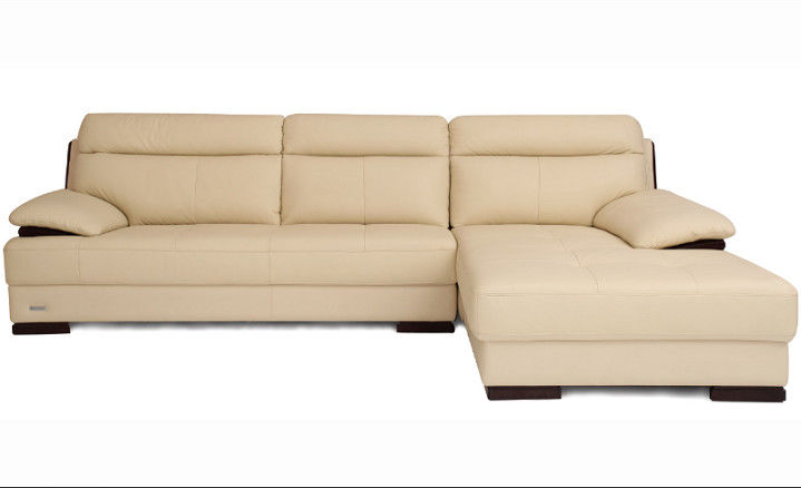 Beige Leather Sectional Sleeper Sofa For Small House Home Furniture Living Room