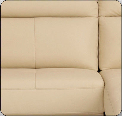 Beige Leather Sectional Sleeper Sofa For Small House Home
