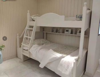 Modern Simple Two Levels Childrens Single Beds With Ladder And Cabinet
