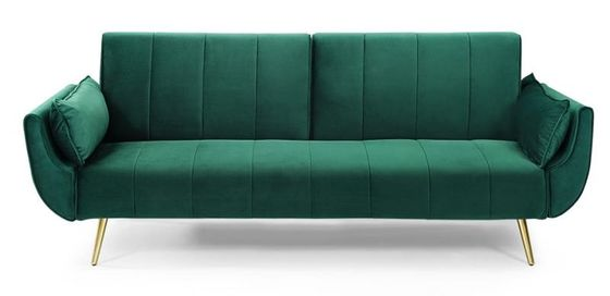 Velvet Fabric Metal Legs Functional Sofa Bed Recycle Foam